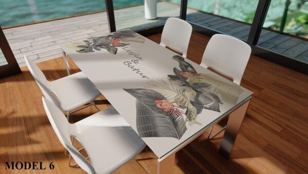 Desenli Dijital Baskılı Şeffaf PVC Masa Örtüsü